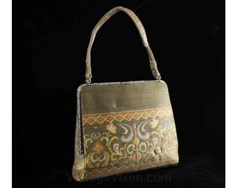 50s Evening Purse - Gold & Floral Metallic Satin Brocade 1950s Formal Bag - Elegant Flourish Motif Handbag - Cinderella Blue Lining - 49124