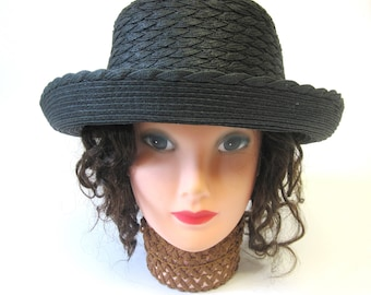Black Straw Boater Hat Millinery Womens