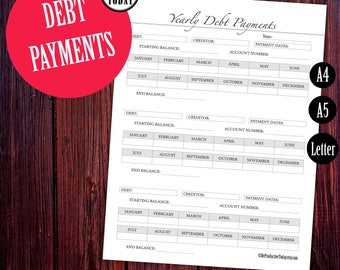 Debt Tracker, Finance Planner Inserts, Debt Planner Printable, Monthly Debt Payments, Debt Payoff, A5, Letter, Planner Inserts, Filofax Page