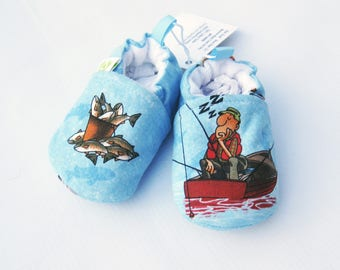 SALE Small Classic Gone Fishing / All Fabric Soft Sole Baby Shoes / Ready to Ship / Babies