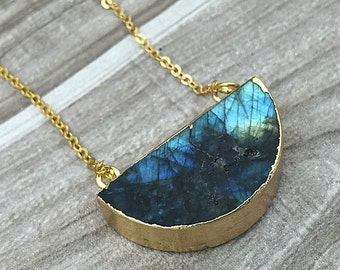 Gold Labradorite Half Moon Necklace // Labradorite half circle Pendant Connector with Double Bail Electroplated 24k Gold Edge (SD81_02)