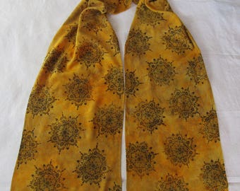 "AUTUMN GOLD hand dyed and hand printed bamboo rayon scarf 12"" x 72"" * original art * OOAK twilightdance"