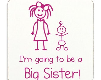 Big Sister Coaster White With Pink Text Childrens Gift New Born Gift Im Going To Be A Big Sister Present