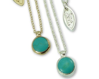 Turquoise  Necklace, December Turquoise Birthstone, Minimalist Gemstones  Necklace Delicate 24k Gold Necklace, Bezel Set .