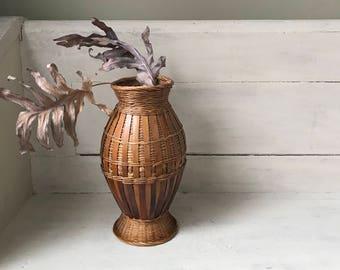 Vintage Woven Rattan Basket Vase   Boho Wicker Vase   Woven Wicker and Bamboo Vase   Boho Chic   Modern Rustic   Beach House   Natural Decor