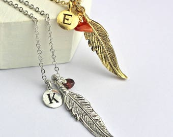 Personalised Feather Charm and Birthstone Necklace with Initial