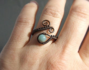 Amazonite stone ring, mint green cocktail ring, rustic look gemstone jewelry