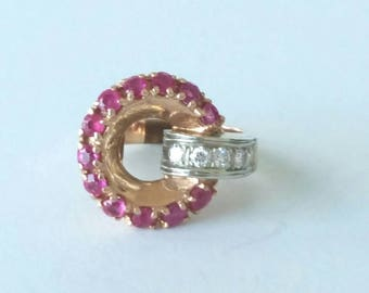 14k art deco ruby & diamond ring