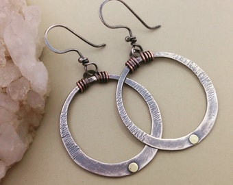 Copper, Brass and Sterling Silver Hoops