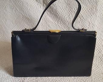 Vintage WALDMAN Black Leather Ladies Top Handle Handbag, Purse 1960's