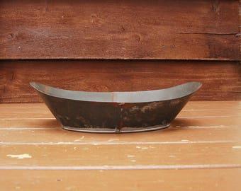 Tinware Scale Bin, Tin Scale Pan, Vintage Metal Scale Pan, Hardware Store Nail Weighing Tin, Tinware Scale Pan