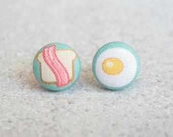 Breakfast Fabric Button Earrings