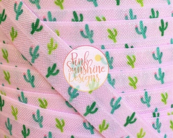"""Prickly in Pink Cactus 5/8"""" Fold Over Elastic 1, 3 or 5 yards"""