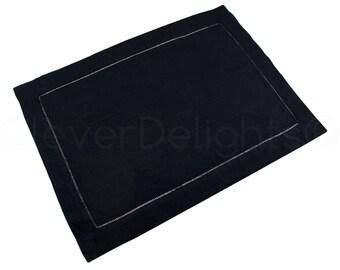 "6 Pk - Black Hemstitch Placemats - 14"" x 20"" - 55/45 Linen Cotton Blend - Ladder Hemstitched Cloth Place Mats - Embroidery Monogram Supplies"