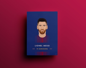 Lionel Messi  |  Barcelona Illustrated Poster Print  |  A5 A4 A3