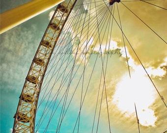 London Eye Sunburst-London,England Fine Art Photography-multiple Sizes Available,Travel,London,London Eye,Ferris Wheel