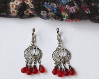 Red Czech Glass, 925  Sterling Silver Earrings. RED COLLECTION (0060)