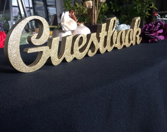 Wedding Guestbook gold glitter wood sign for Wedding reception guest book wedding sign