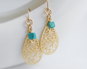 Love (earrings) - 14k Gold plated tear drop filigrees and tiny turquoise square stones on 14k Gold Filled ear wires