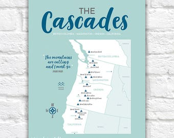 Cascades Map, Mountain Range, British Columbia, Washington, Oregon, Northern California Maps, Volcanoes, Informative Art, PNW Gifts | WF602