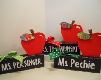 Teacher, APPLE, Personalized Name Block, Made To Order