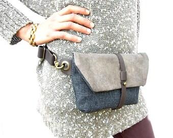 Unique Unisex Hip Bag, Black Denim Bag, Leather Zipped Pouch, Waist Bag, Hip Pouch, Unisex Bags, Travel Fanny Pack, Unisex Gift, Travel Gift