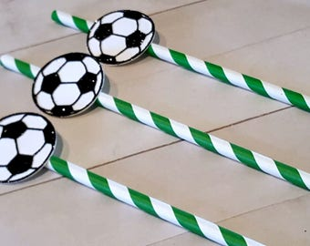 Soccer Party Decorations, Boy Soccer Party, Soccer Straws, Soccer Ball Party Decorations, Soccer Birthday, Soccer Birthday Decorations,