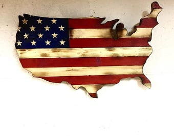 Wood American Flag, Rustic (USA) FREE SHIPPING