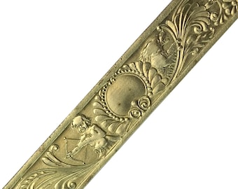 """Limited Supply Textured Solid Brass Sheet Cherub & Flower Pattern Banding Strip with border 7/8""""x12"""" - Great for Rolling Mills"""