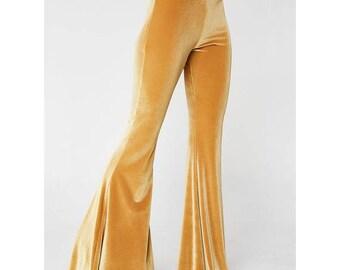 Hippie Pants, Hippie Bell Bottoms, Velvet Bell Bottoms, High Waisted, Velvet Festival Flares, Velvet Pants, Gold Flare Pants, Womens Flares