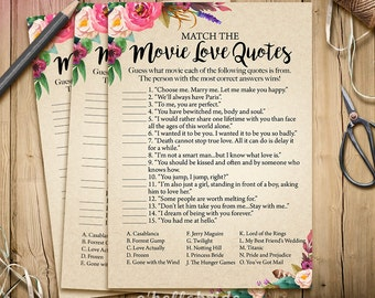 Printable Bridal Shower Games - Movie Love Quote Game - Printable Boho Bridal Shower Movie Quote Game - Bohemian Bridal Shower Game 003