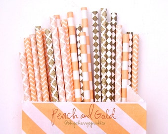 Peach and Gold Straws, Peach and Gold Party, GOLD straws, Peach straws, Straws, Gold Wedding Decor, Peach Decor, PEACH, GOLD, Baby Gift