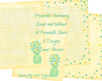 Printable Floral Stationery, Printable Journal Pages, Lined Writing Paper and Unlined, 2 Designs, Instant Download