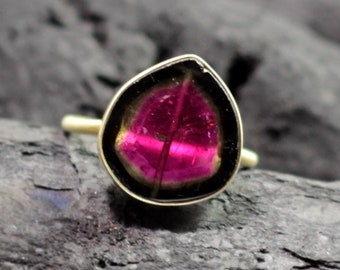 Rare awesome Watermelon tourmaline gold plated sterling silver ring delicately handcrafted minimalist tourmaline jewelry Perfect gift ETR043