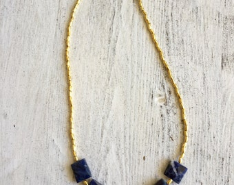 """Gold Vermeil Hill Tribe & Sodalite Beaded Necklace 17"""", beaded necklace, gifts for women mom sister best friend wife girlfriend"""