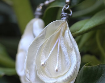 Blossom Droplet Earrings, Snow — EcoFashion Flower Earrings — Wearable Art in Harmony With Nature