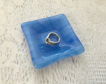 Fused Glass Dish, Blue Square Ring Dish, Glass Trinket Tray - 162