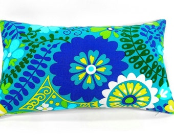 Free shipping/BLUE PILLOW Cover LUMBAR 12x20 inches-Floral Blue-Turquoise-Home decor fabric-Throw pillow-Decorative pillow- Handmade-