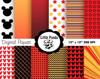 70% OFF SALE Mickey Mouse Digital Paper Pack, Scrapbook Papers, 12 jpg files 8.5 x 11  - Instant Download - D83