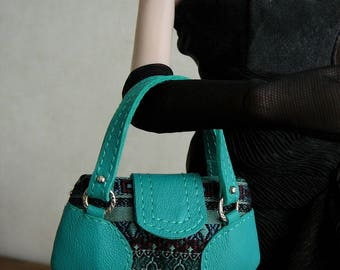 "Purse made of silk fabric and turquoise leather for 16"" fashion dolls (Tonner, Sybarite) or 1/4 BJD"