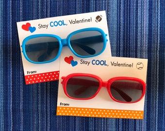 Sunglasses Valentine - Instant Download - Valentine's Day Digital Printable -  Digital Valentines - Kids Valentines - Sports Valentine