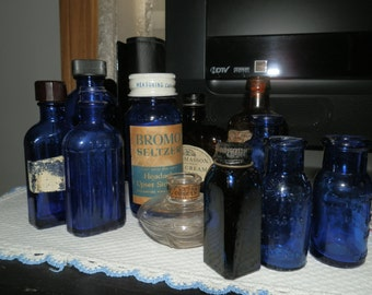 Lot of 11 Vintage Bottles- Cobalt Blue-Clear-Brown-Late 1800's to mid 1900's