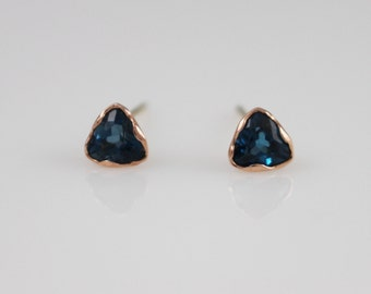 14K solid gold blue topaz earrings, 14k Blue topaz Stud, london blue topaz earrings, 14k triangle earrings, bridal earrings, wedding gift