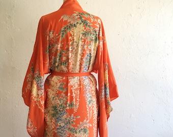 Vibrant tangerine orange kimono * Vintage 1920s floral kimono robe * 20s long silk kimono with tie belt