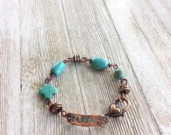 Wire Wrapped Bracelet, Patina Wrapped Bracelet, Turquoise Bracelets