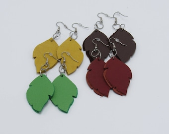 Leather Leaf Earrings - Various Colors