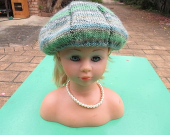 Handmade Knitted Green Variegated Beret for Girl aged 8-12 years.