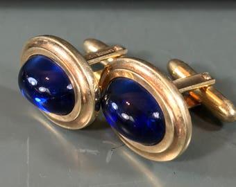 Vintage Cufflinks, by La Mode, Blue Cabochon Centers, 1/20 10k Gold Filled, Oval Cufflink Set