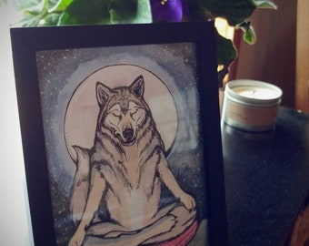 Framed Print. Mindful Wolf. 5x7 inch. Signed by Artist. Wolf art. Yoga art.