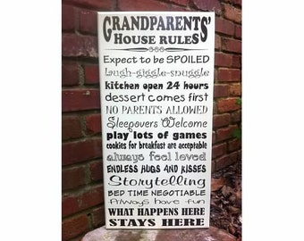 """Grandparents' House Rules 12""""x24"""" - can be customized"""